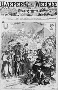 Amerikan askerlerini ziyaret eden 1863 tarihli Noel Baba cizimi