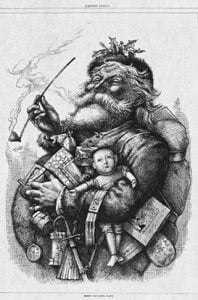 Thomas Nast tarafindan cizilen detaylı bir Noel Baba cizimi-1881