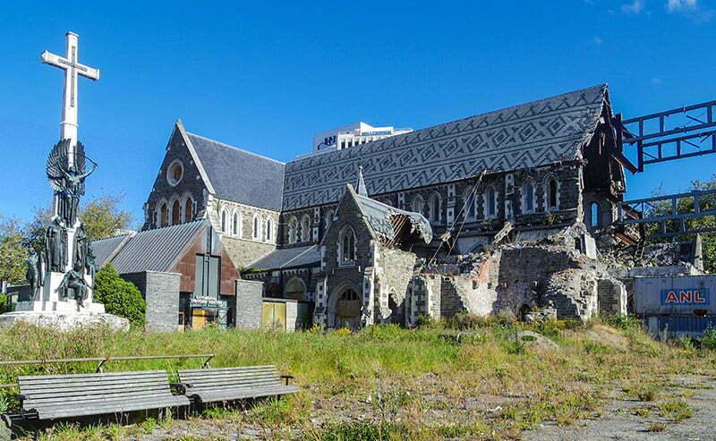 Tadilattaki Christchurch Katedrali'nin dis goruntusu