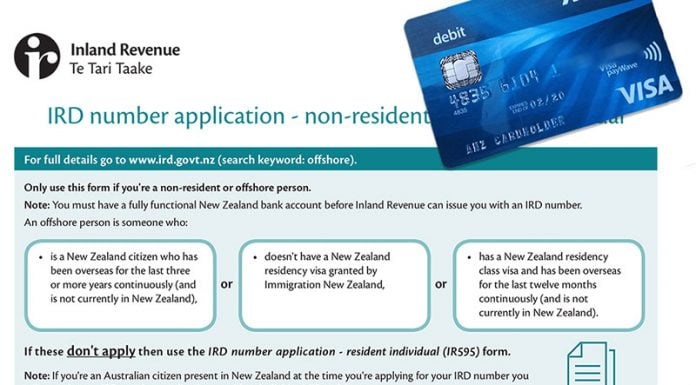 Yeni Zelanda IRD no ve banka hesabi