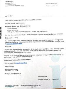 Yeni Zelanda vergi dairesinden gelen IRD belgesi