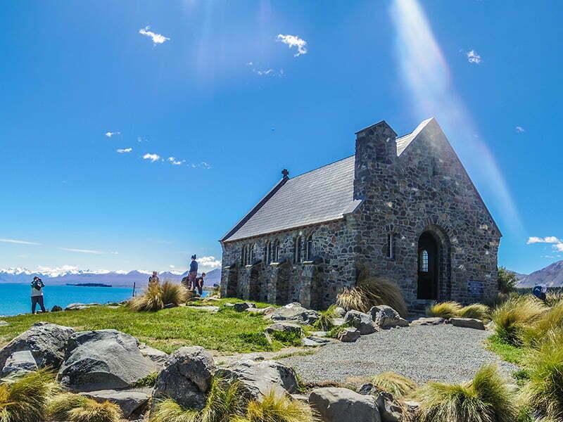Good Shepherd Kilisesi Tekapo Golu ve Alpler