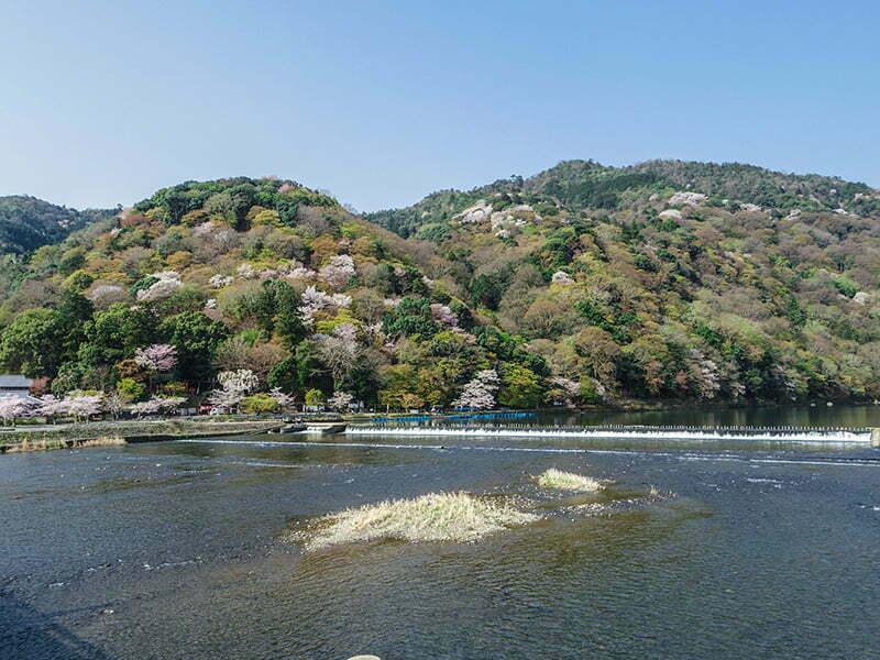 Togetsukyo Koprusunden Arashiyama dağları - Kyoto